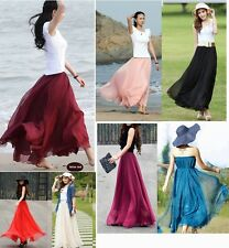 New Women Lady Girl Graceful Elastic Waist Dress Chiffon Pleated Long Maxi Skirt