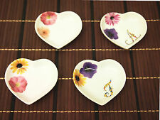 Cute DesignedSmall Heart Shaped Plate with Flowers for tea bags, sauce, jewelry