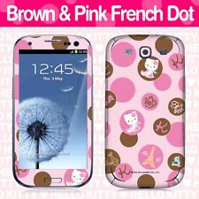 Hello Kitty Cell Phone Body Skins Decals Licensed 2012-Brown And Pink French Dot