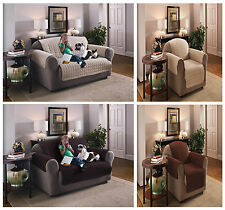 Luxury Quilted Sofa Furniture Chair Protector Cover Throw, Easy Care Beige Brown