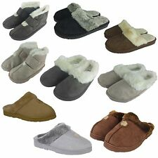 Ladies SIZE 3-8 Fur Mules Slippers Womens Shoes BLACK GREY BROWN BEIGES UK