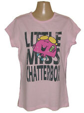 NEW MR. MEN & LITTLE MISS CHATTERBOX PINK COTTON T-SHIRT TEE TOP GIFTS L