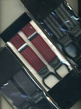 SL552 Suspenders Leather Tabs One Size Elastic Striped Black Navy Wine or Gray
