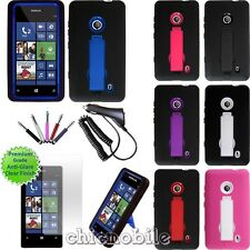 Charger+Screen+Stylus+Armor kickStand Case Cover TMobile Nokia Lumia 521 Bundle