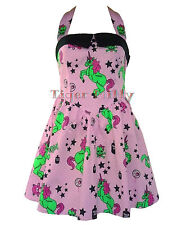 Hell Bunny Mini Unicorn Dress I Heart Zombie Pink Size 8-16