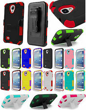 RUGGED TRI-SHIELD RUBBER SKIN CASE BELT CLIP HOLSTER STAND FOR SAMSUNG GALAXY S4