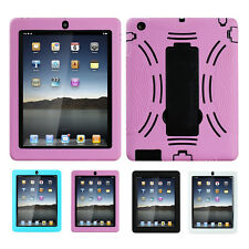 Apple iPad 2 3 4 Case Stand Rugged Hard Black White Blue Pink