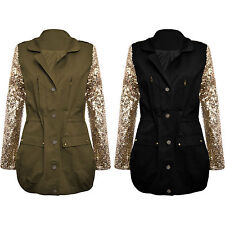 Womens Coats Military Jackets Celebrity Gold Sequin Parka Button Coat 8 10 12 14