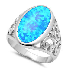 Blue Fire Opal Filigree Design .925 Sterling Silver Ring SIZES 6-11