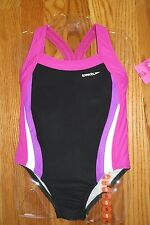 Speedo Girl's Swimsuit Size 5, 6, 7, 8, 10 12 1 piece  Black with Pink and White