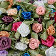 500 x ROSE BUDS SATIN RIBBON FLOWERS ROSEBUDS FLOWERS  SCRAPBOOKING 30 x 17mm