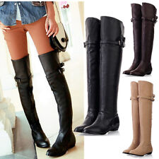 2015 Women's Thigh High Long Boots Over The Knee Leather Warm Flats Bucket Shoes