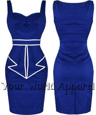H&R LONDON BLUE SAILOR NAUTICAL HALTER PENCIL DRESS VINTAGE ROCKABILLY SEXY 2044