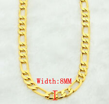 2014 New  (20-30Inch)Top Quality 24k Gold Plated Jewlery 8MM Chain Men Necklace