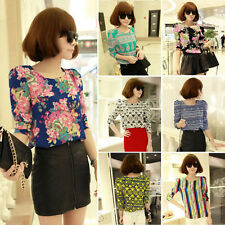Vintage Women Ethnic Floral Chiffon T-Shirt Long Puff Sleeve Casual Tops Blouse