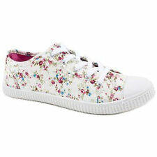 Womens/Ladies Casual/Beach Trainer/Shoe 'LORNA' ~ Cream or Navy Floral ~ Lace Up