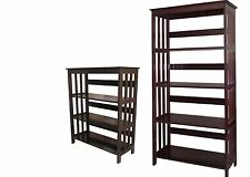 4 & 3 Tier Wooden Bookshelf Bookcase  Espresso finish