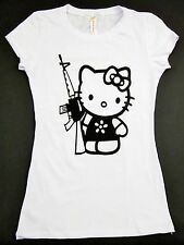 HELLO KITTY AK-47 Gun T-shirt Kitty White AK 47 Anime Cat JUNIORS Tee S,M,L,XL