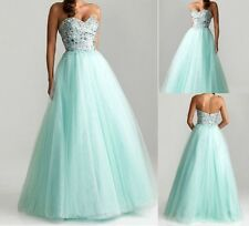 Tulle Beaded Wedding Dresses Ball Gown Bridesmaid Evening Long Prom Dresses 6-16