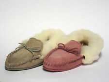 Real Suede 'Spot On' Leather Moccasin Ladies Textile Fur Cuff Slippers