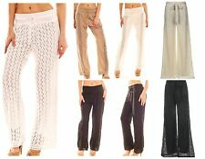 BOHO BEACH CROCHET LACE PANTS EMBROIDERED IVORY KHAKI BLACK WHITE CRUISE RESORT