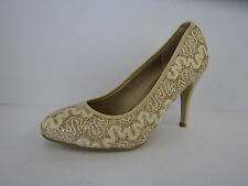 SPOT ON LADIES CHAMPAGNE GOLD COURT SHOE F9603