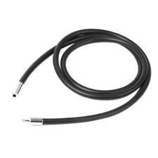 """3mm Black Rubber Stainless Steel Cord Chain Choker Necklace 12"""" to 25.5"""" Unisex"""