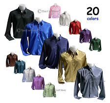 Mens Thai Silk Shirts Long Sleeve Size S M L XL XXL XXXL Casual Formal Dress New