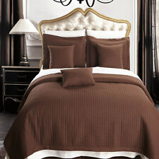 Chocolate Checkered Multi-Piece Coverlets Quilted Set  Wrinkle Free Microfiber
