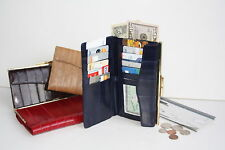 100% EEL SKIN CHECKBOOK COVER WALLET CLUTCH ID CARD DOCUMENT HOLDER STRAP..