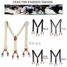 "Mens Elastic Leather Suspenders Adjustable Braces Belt Clip-On 1.3""Width 5Colors"