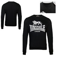 Lonsdale GOSPORT Black Crew Neck Unique V-Rib Insert Sweatshirt Sweater Pullover