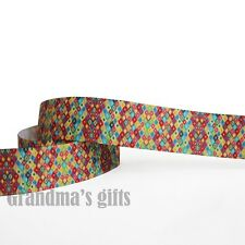 "1""25mm Colourful Printed Grosgrain Ribbon 10/50/100 Yards Hairbow Wholesale"