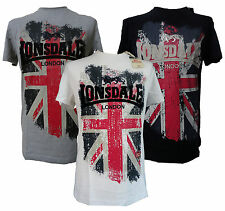 Lonsdale Jacob T-Shirt Embroided Logo Large Union Jack Black Grey White S-XXL