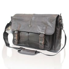 MENS WOMENS REAL LEATHER SATCHEL MESSENGER BAG SHOULDER LAPTOP BAG HANDBAG FT