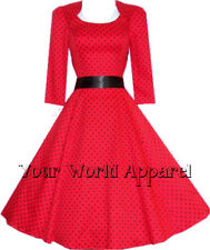 H&R LONDON RED POLKA DOT SWING 1950's HOUSEWIFE DRESS VINTAGE ROCKABILLY 5367