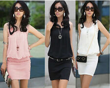 Summer women clothing round neck casual Chiffon party Dress simple style