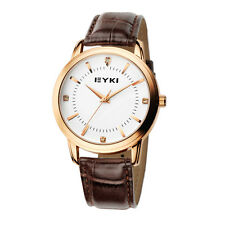 C6 US Fashion EYKI Mens Watches Water Resistant Date Leather Strap 2 Colours