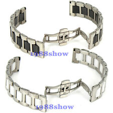 New 16 20 mm Stainless Steel Link Black White Ceramic Watch Band Bracelet Strap