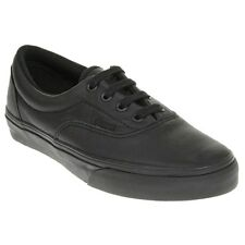 New Boys Vans Black Era Leather Trainers Plimsolls Lace Up