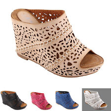 NEW STYLISH Cut Outs Wedge Peep Toe Sandals Womens Clogs Mules High Heel Size
