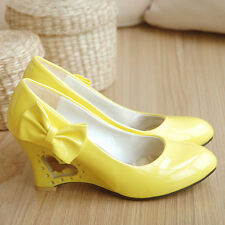 New Womens High Heart Shape Unusual Wedge Bow Heel Faux Leather Pumps Plus Size