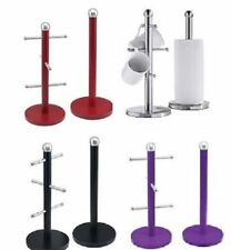 KITCHEN TOWEL PAPER ROLL HOLDER STAND POLE 6 CUP MUG TREE STAINLESS STEEL SET