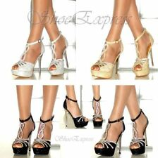 WOMENS UNIQUE!RINSTONE ENCRUSTED T-BAR HIGH METALIC HEEL PARTY SHOES 2-7