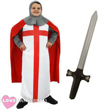 BOYS KNIGHT COSTUME CHILD ST GEORGE FANCY DRESS MEDIEVAL ENGLISH CRUSADER KID