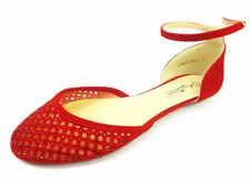 Ladies Anne Michelle Red Flat Shoes with Diamante Detail & Ankle Strap L4952