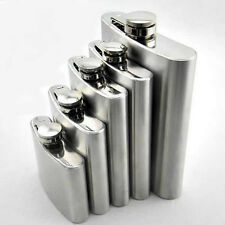 Stainless Steel Hip Liquor Whiskey Alcohol Flask Cap 4 5 6 8 10 18 oz + Funnel