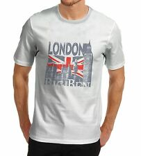 Mens London Big Ben Union Jack T-Shirt White Medium