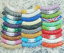 Curved Czech Crystal Rhinestones Pave Tube Bracelet Connector Charm Beads