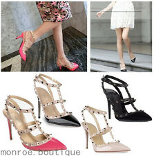 NEW Women High Heel Point Toe Strappy Pumps Rivets Shoes Sandal 115mm SH1